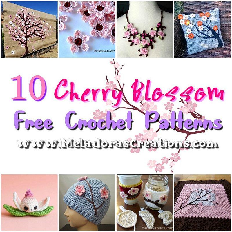 10 Cherry Blossom Free Crochet Patterns - Crochet Round up