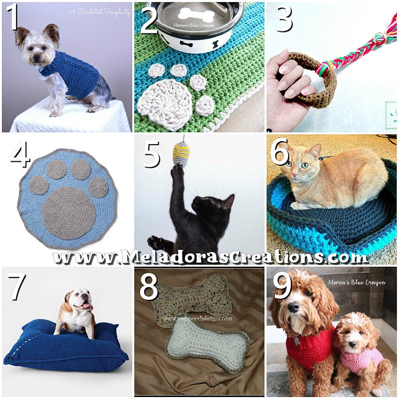 10 Free Crochet Pet Patterns - Crochet Patterns for Dogs - Crochet Pattern of Cats - Crochet round up Link blast