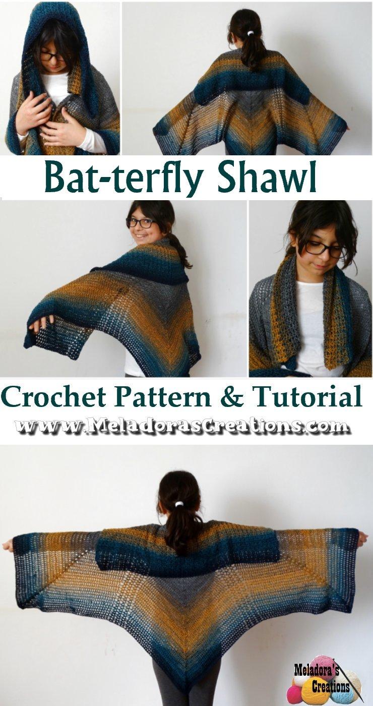 Butterfly Shawl Crochet Pattern - Bat-terfly Shawl – Free Crochet Pattern & Tutorials