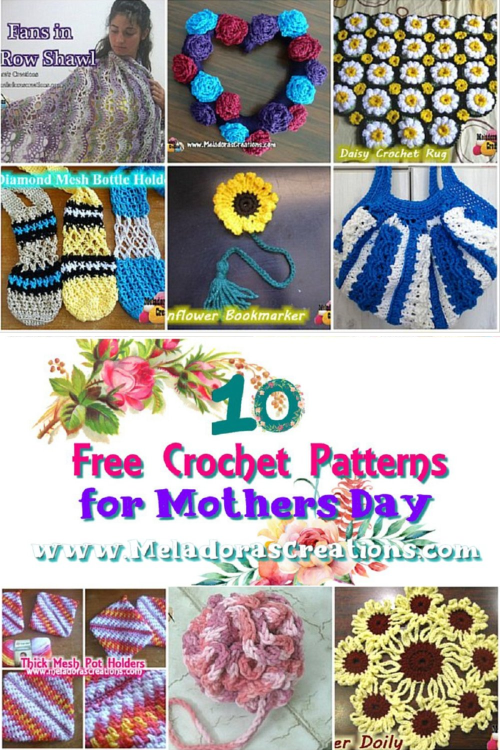 10 Free Crochet Patterns for Mothers Day - Pattern round up - crochet link blast