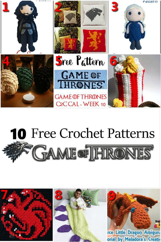 10 Free Crochet Patterns Game of Thrones - Crochet Link Blast