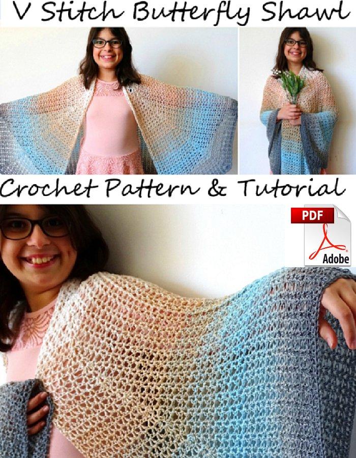 Butterfly Shawl Crochet Pattern - V stitch Butterfly Shawl – Free Crochet Pattern & Tutorials