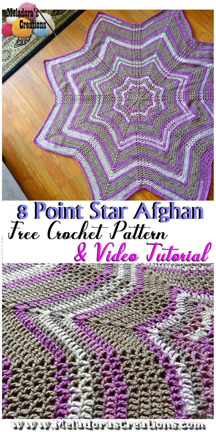 Crochet Star Afghan 8 Point Star Afghan Free Crochet Pattern Meladora S Creations