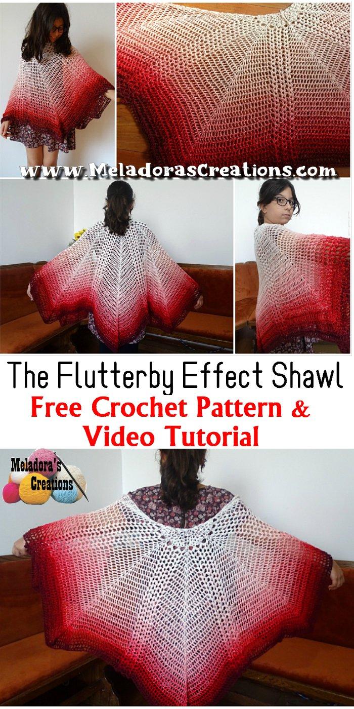The Flutterby Effect Butterfly Shawl Crochet Free Pattern and Crochet Tutorial