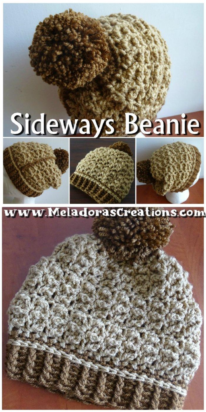 Crochet Sideways Beanie – Starfish Crochet Stitch - Free Crochet pattern