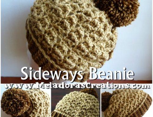Crochet Sideways Beanie – Starfish Crochet Stitch – Free Crochet pattern