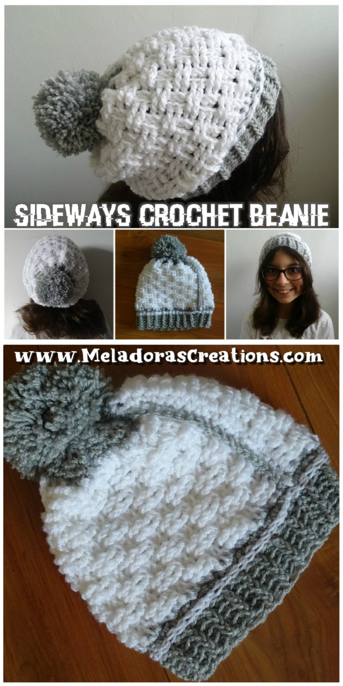 Crochet Sideways Beanie – Basket Weave Stitch - Free Crochet pattern