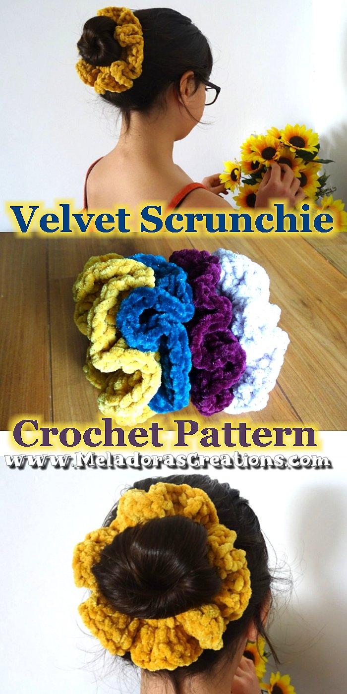 Velvet Crochet Scrunchy - Fluffy Crochet Scrunchy – Free Crochet pattern