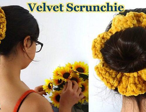 Velvet Crochet Scrunchy – Fluffy Crochet Scrunchy – Free Crochet pattern