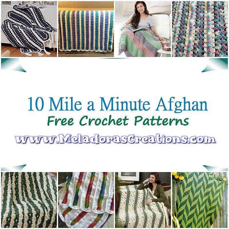 10 Mile a Minute Crochet Afghan – Free Crochet Pattern link Blast - Crochet afghan in Strips