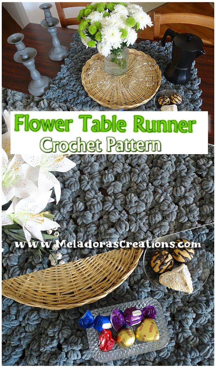 Flower Table Runner Crochet Pattern - Puff Flower Crochet - Crochet for the Home - Free Crochet Pattern