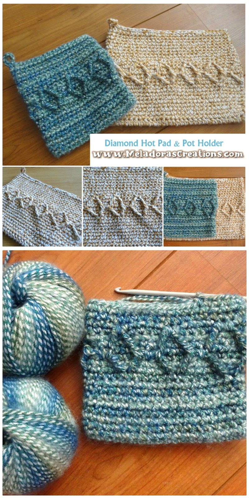 Crochet Pot Holder and Hot Pad Pattern – Diamond Crochet Pot holder - Free Crochet pattern