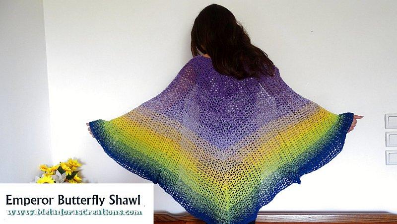 Emperor Butterfly Shawl Crochet Free Pattern and Crochet Tutorial
