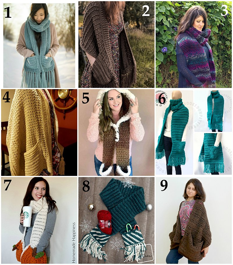 10 Scarves with Pockets – Free Crochet Pattern link Blast