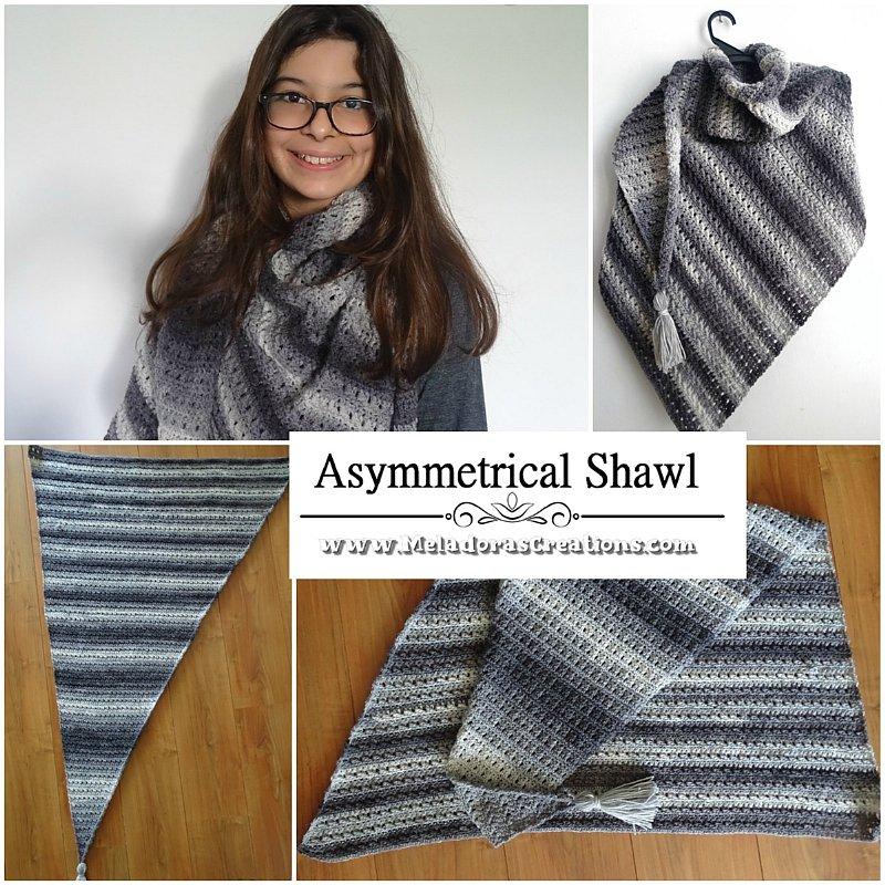 Asymmetrical Shawl Crochet Pattern and Crochet Tutorials