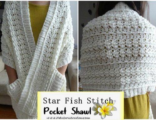Star Fish Pocket Shawl – Free Crochet pattern