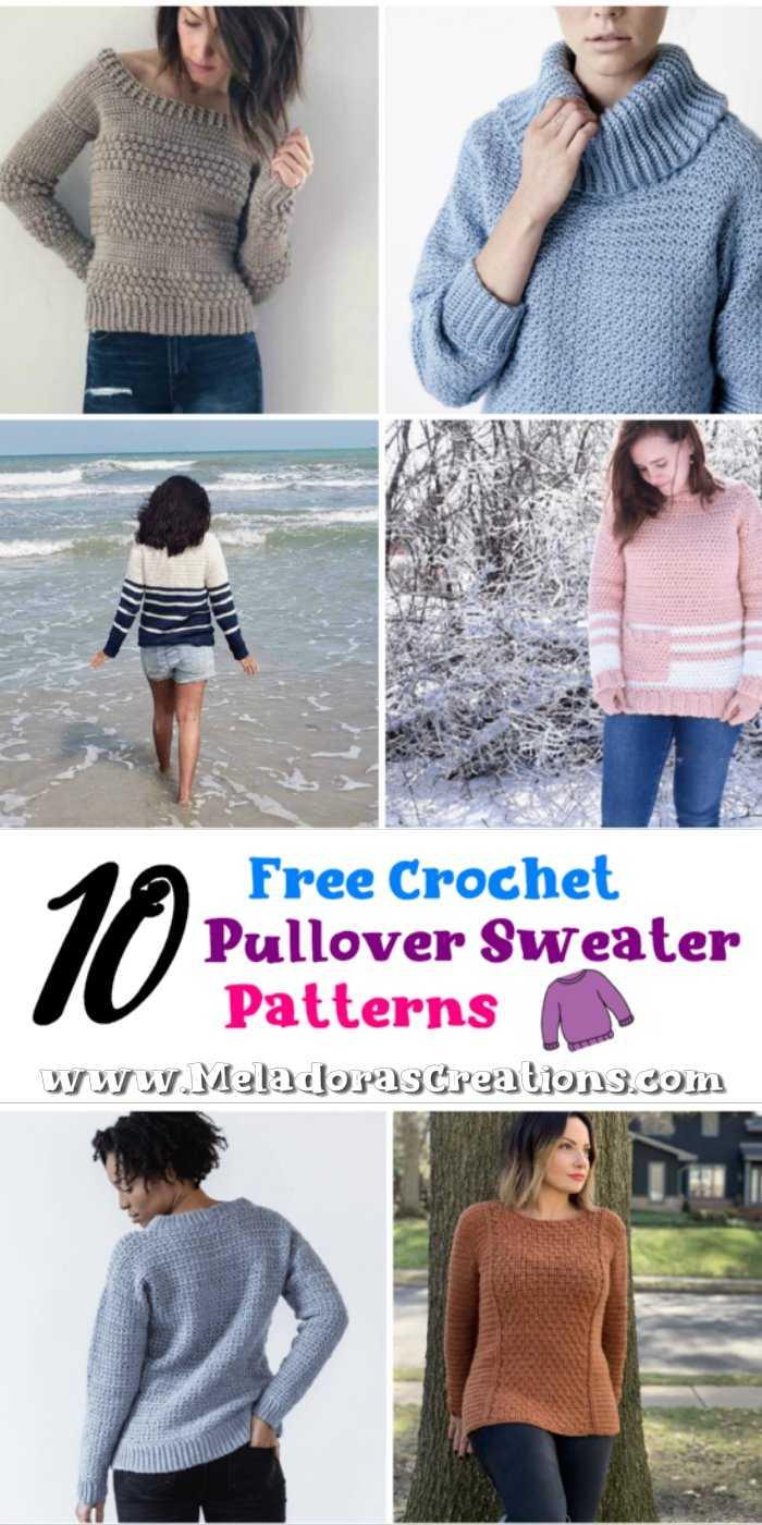 10 Free Crochet Pullover Sweaters– Free Crochet Patterns Link Blast