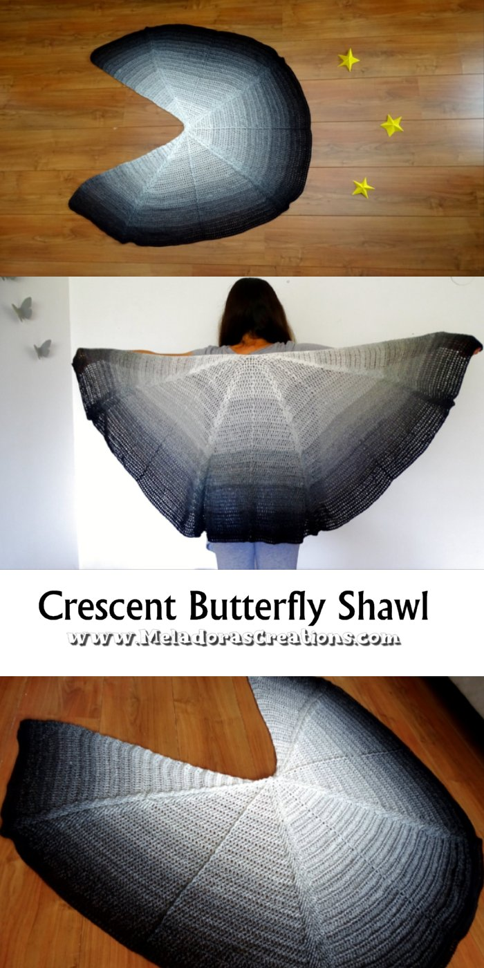 Crescent Butterfly Shawl Crochet Free Pattern and Crochet Tutorial