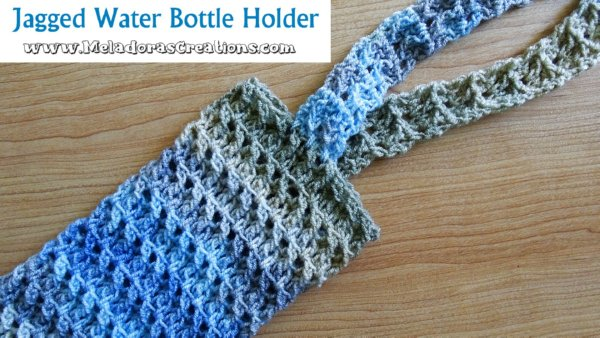 Jagged Crochet Water Bottle Holder Pattern and Video tutorial