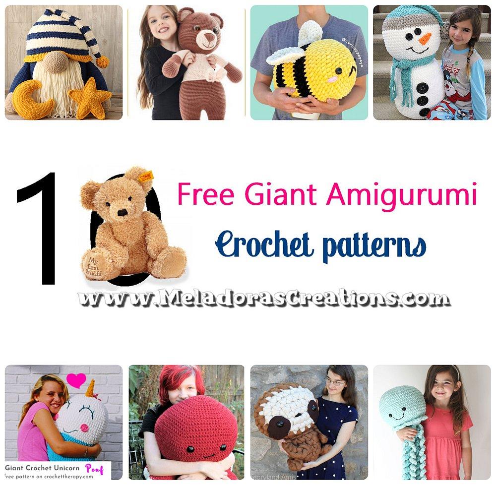 10 Free Giant Amigurumi Crochet Patterns - Crochet Pattern Round up