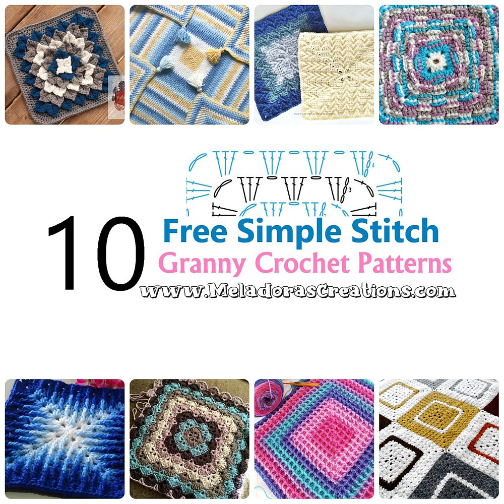 10 Simple Stitch Granny Squares Crochet Pattern Round up