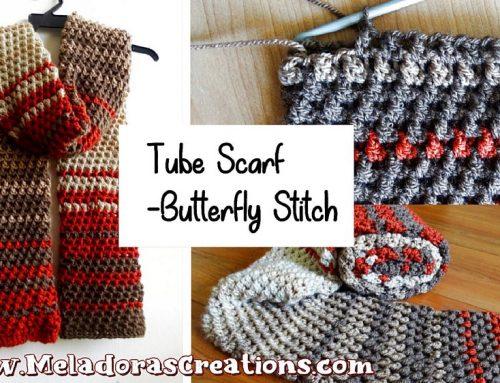 Crochet Tube Scarf – using the Butterfly Stitch – Free Crochet pattern