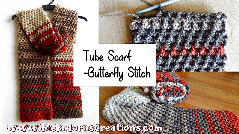 Crochet Tube Scarf - using the Butterfly Stitch – Free Crochet pattern